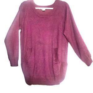 Max Studio Burgundy Knot Long-Sleeve Sweater | 1X